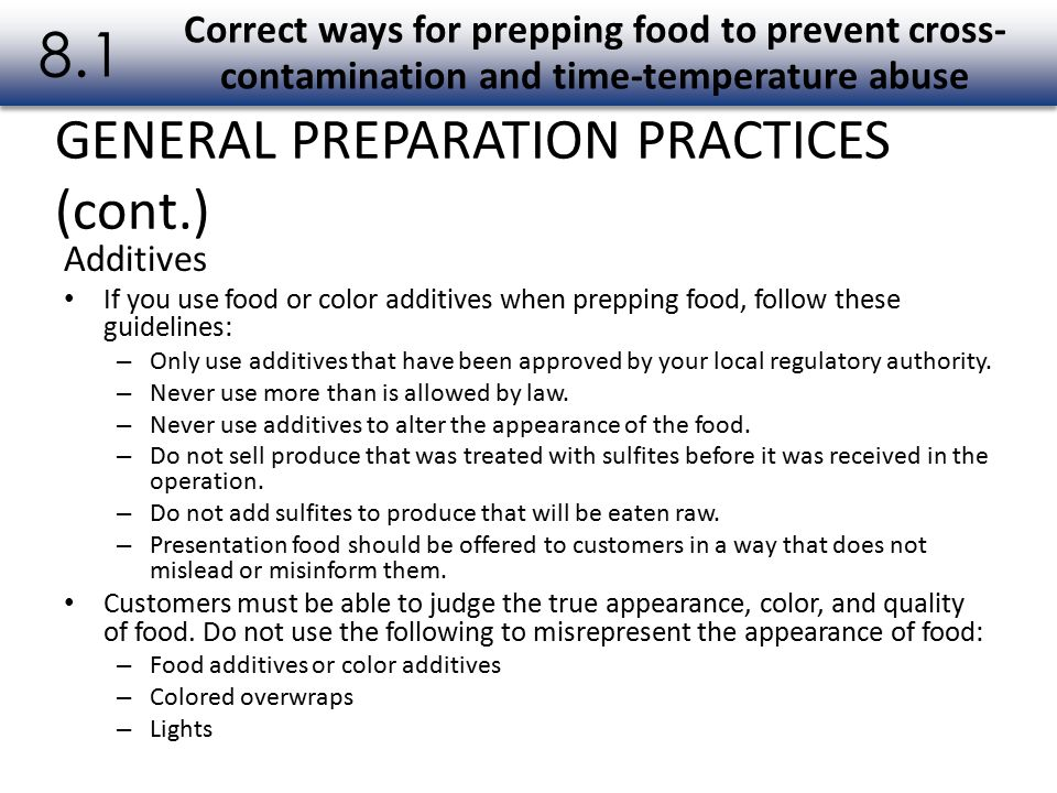 8.1 GENERAL PREPARATION PRACTICES (cont.)