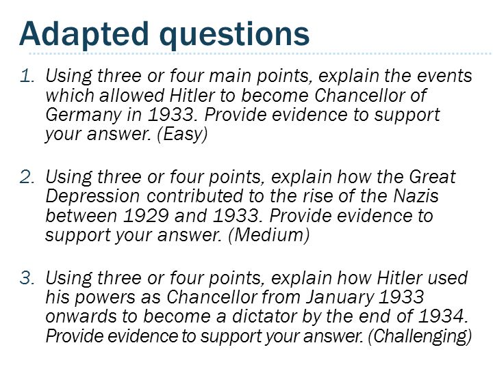 Adapted questions