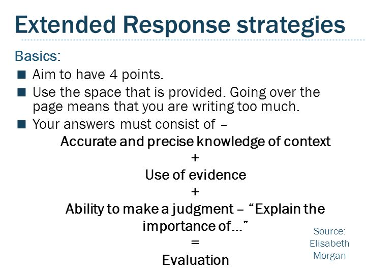 Extended Response strategies