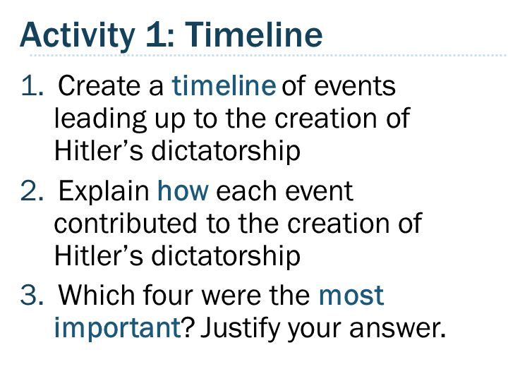 Activity 1: Timeline Create a timeline of events leading up to the creation of Hitler's dictatorship.