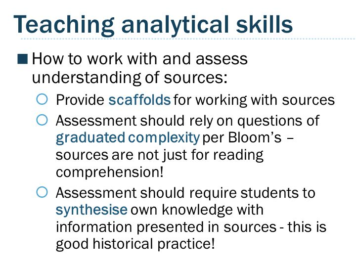 Teaching analytical skills