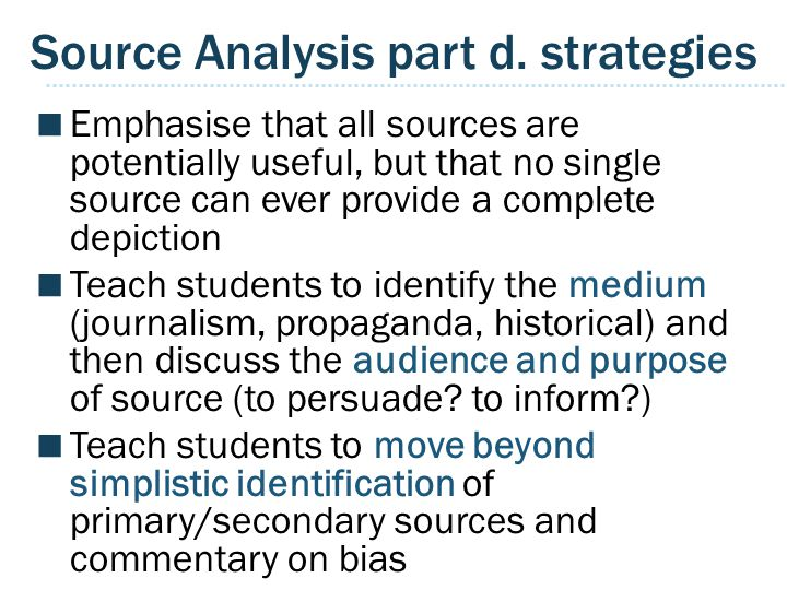 Source Analysis part d. strategies