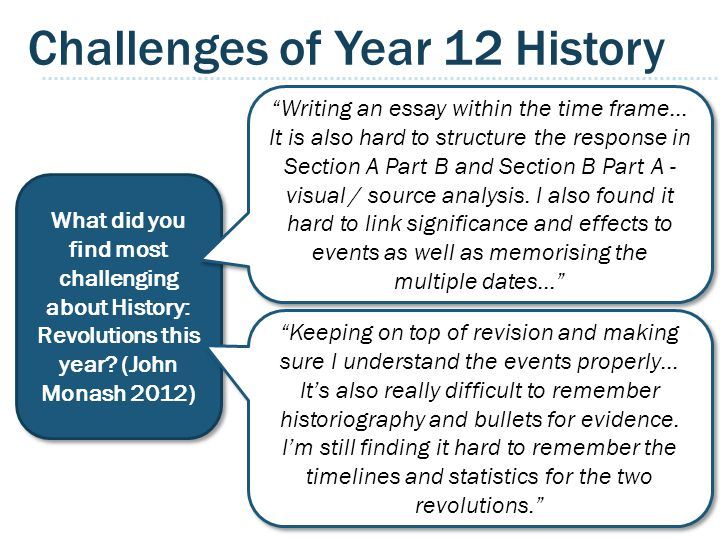 Challenges of Year 12 History