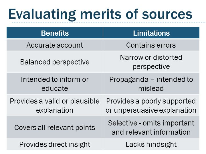 Evaluating merits of sources