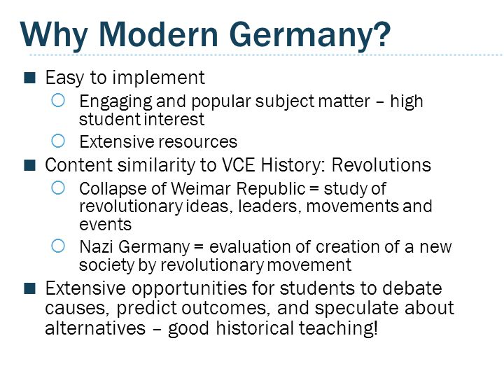 Why Modern Germany Easy to implement