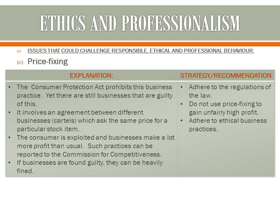 ETHICS AND PROFESSIONALISM
