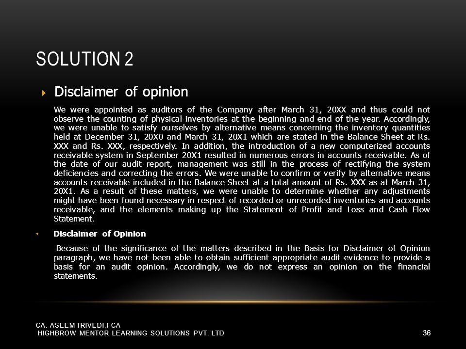 Solution 2 Disclaimer of opinion