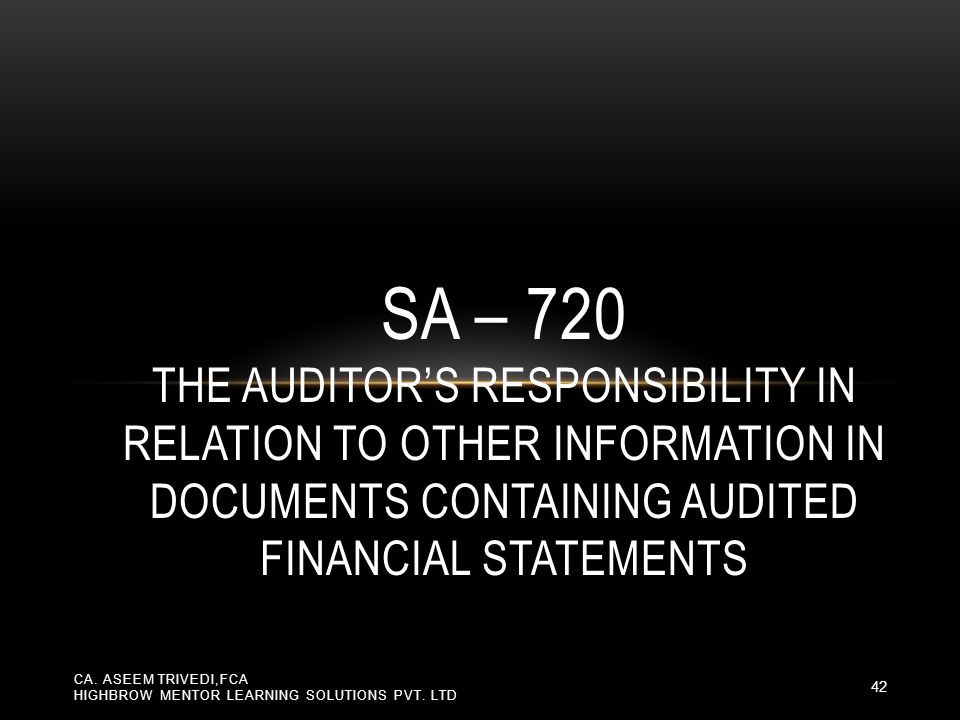 SA – 720 The Auditor's Responsibility in relation to Other Information in Documents Containing Audited Financial Statements