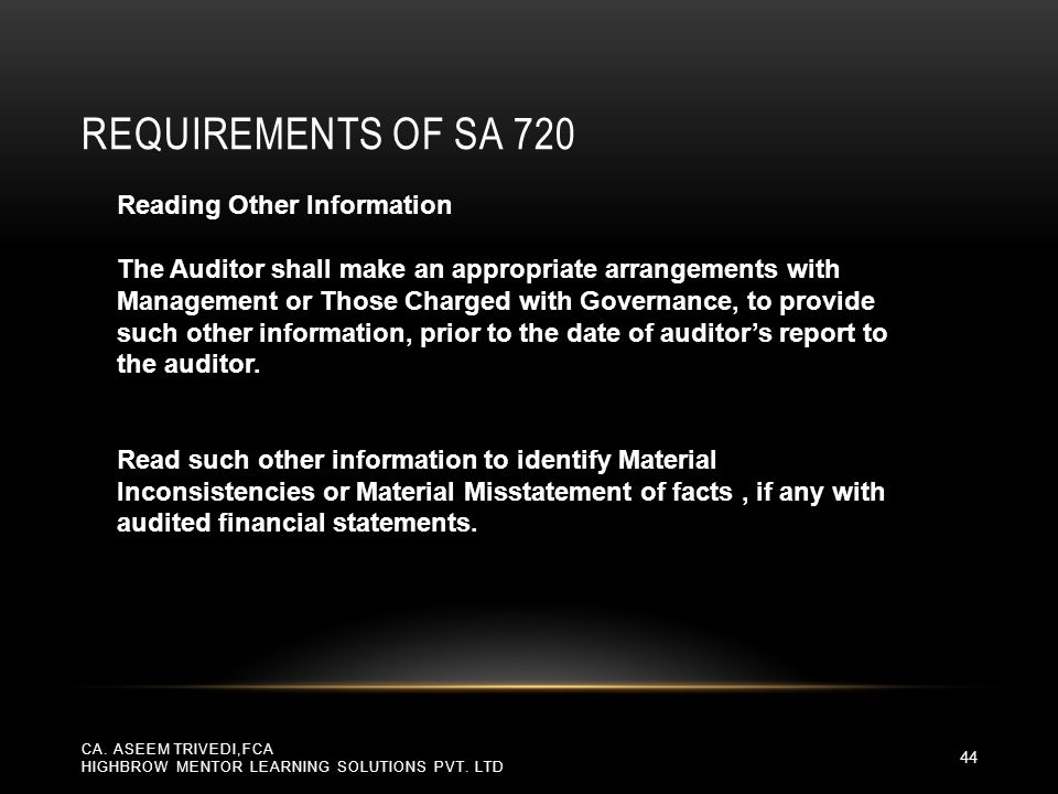 Requirements of SA 720 Reading Other Information