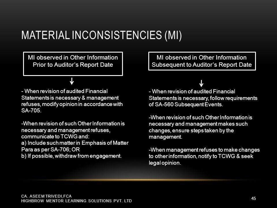 Material Inconsistencies (MI)