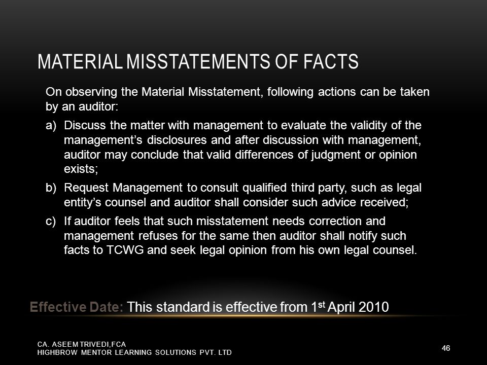 Material Misstatements of Facts