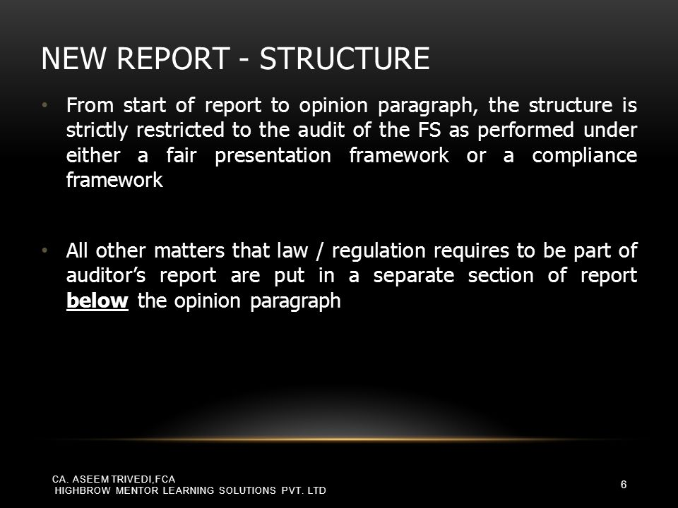 New report - structure