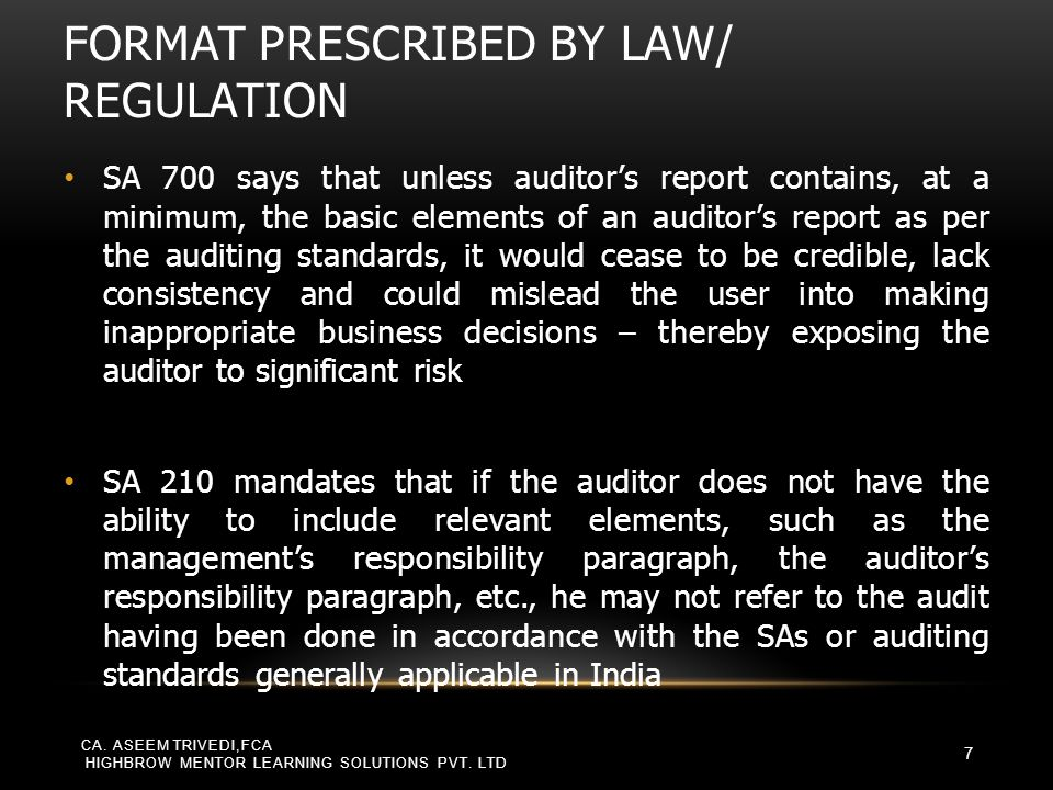 Format prescribed by law/ regulation