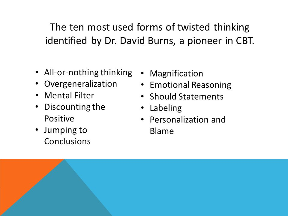 The ten most used forms of twisted thinking identified by Dr