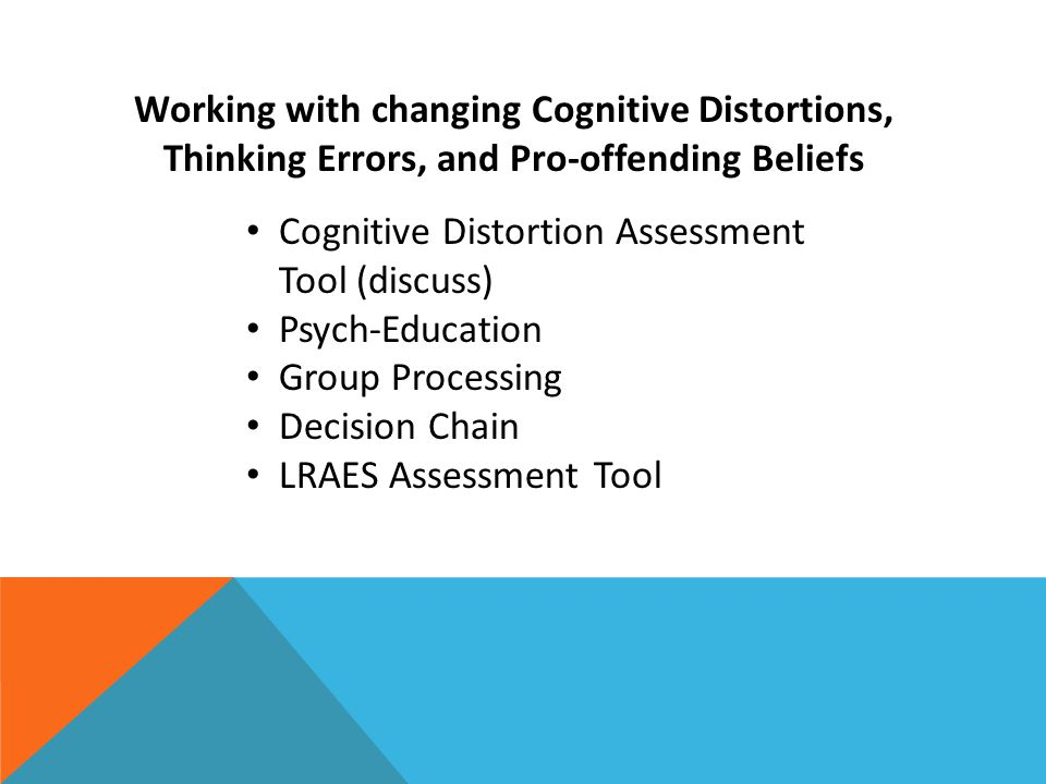 Working with changing Cognitive Distortions, Thinking Errors, and Pro-offending Beliefs