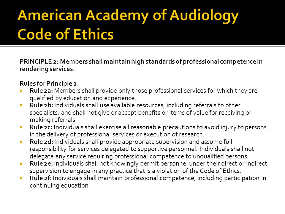 American Academy of Audiology Code of Ethics