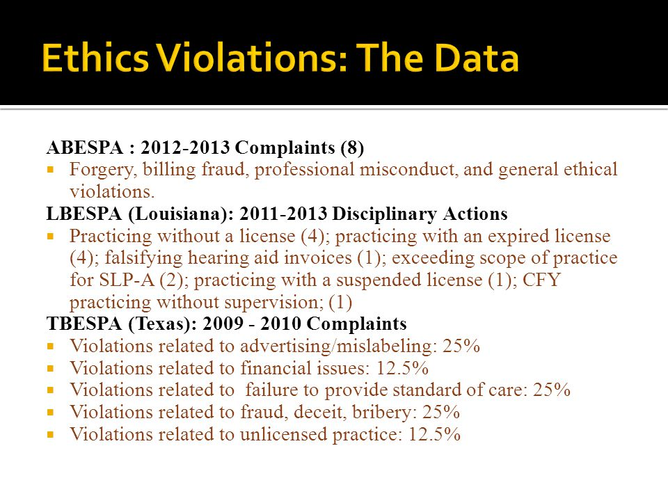 Ethics Violations: The Data