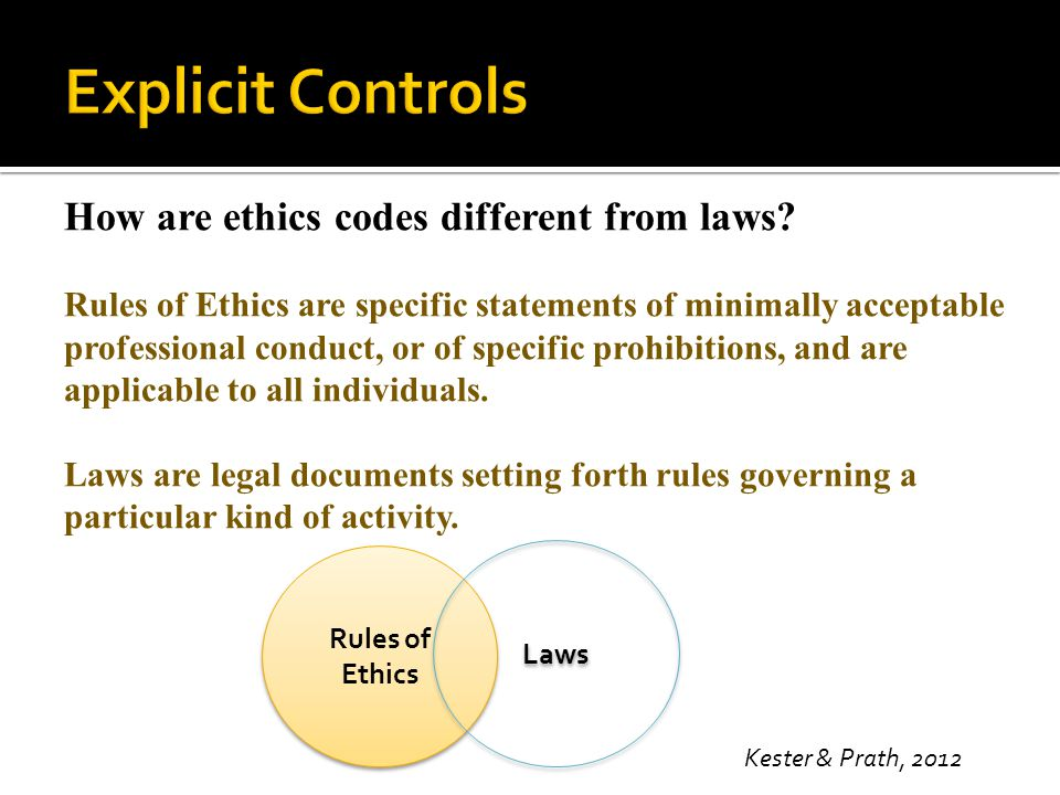 Explicit Controls How are ethics codes different from laws