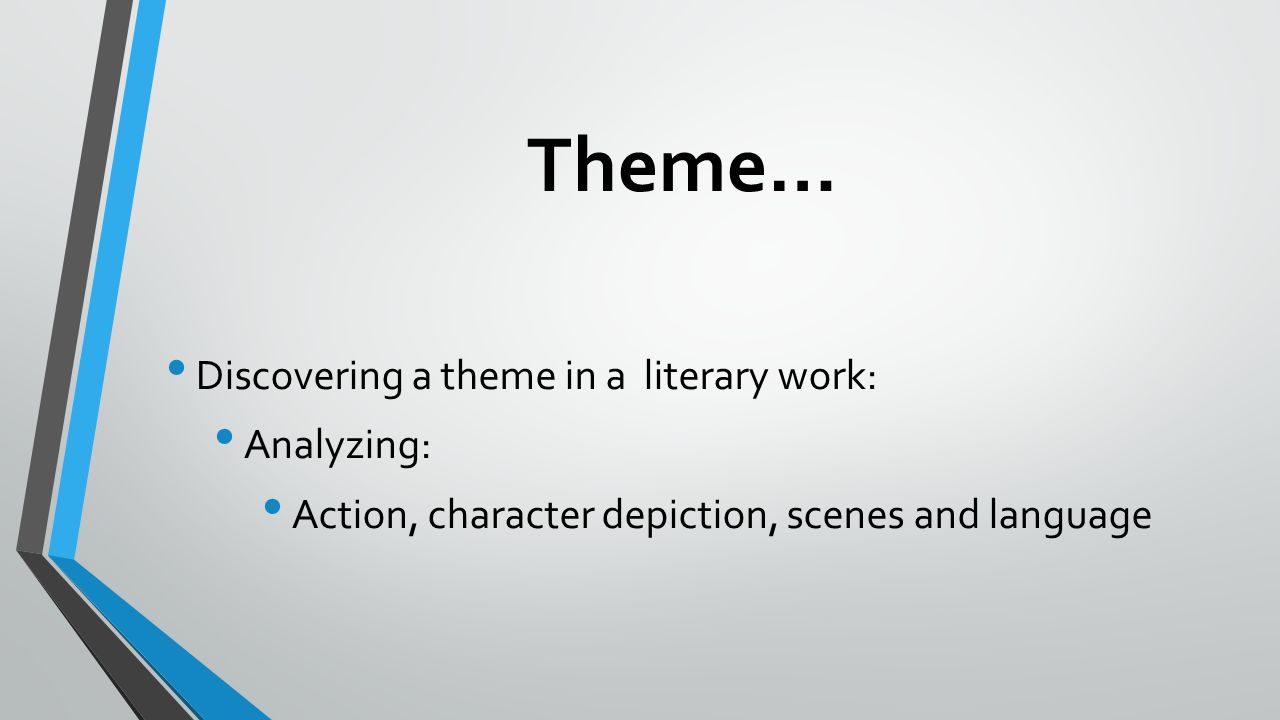 Theme… Discovering a theme in a literary work: Analyzing: