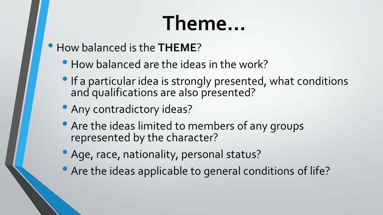 Theme… How balanced is the THEME