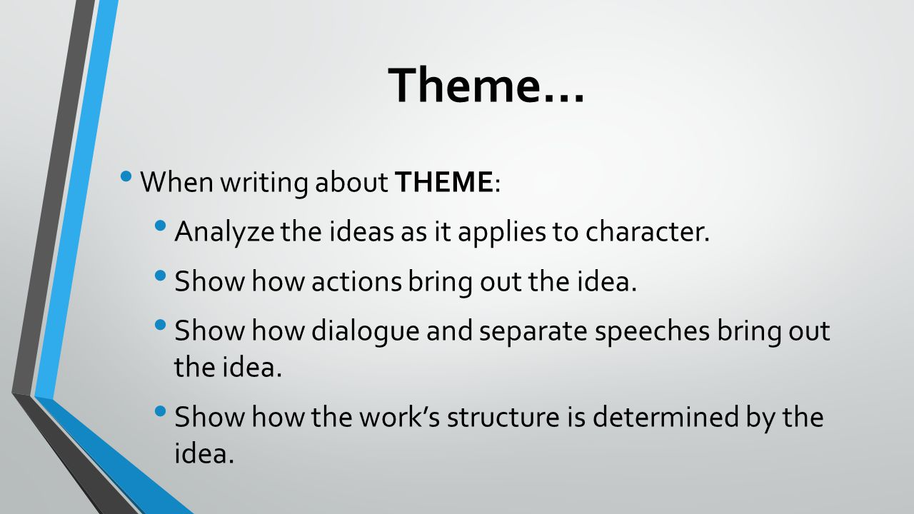 Theme… When writing about THEME: