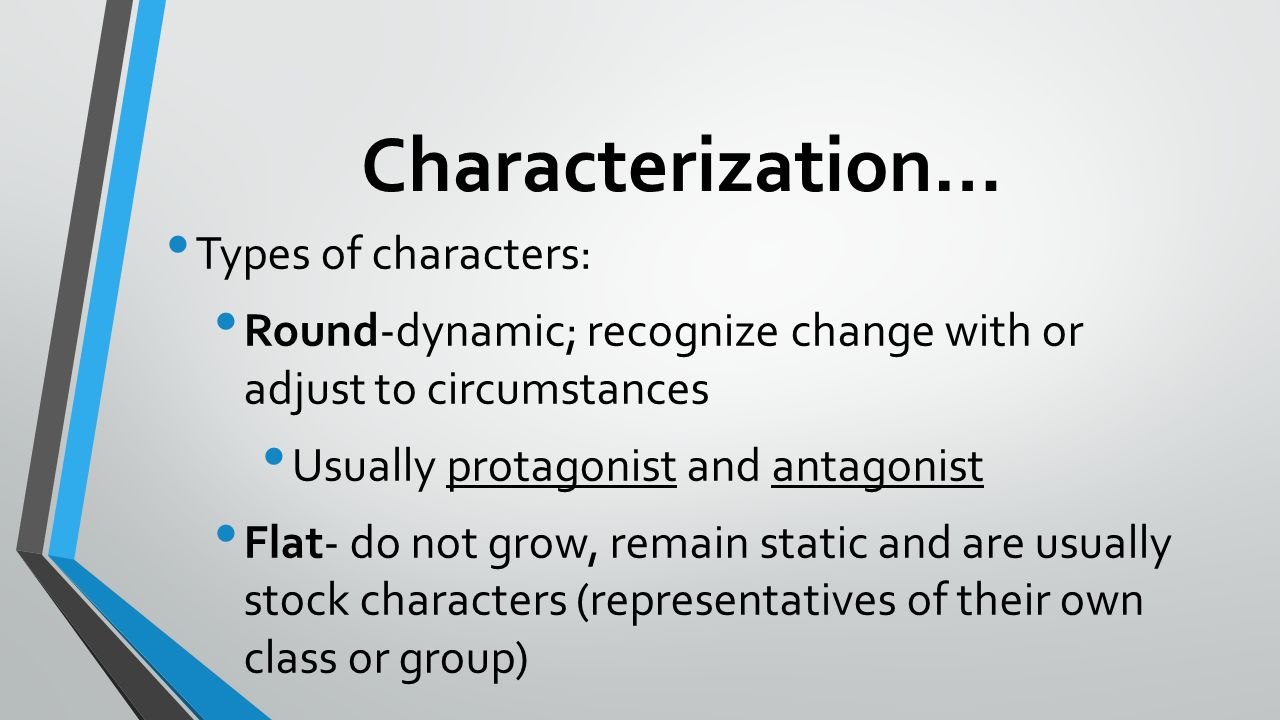 Characterization… Types of characters: