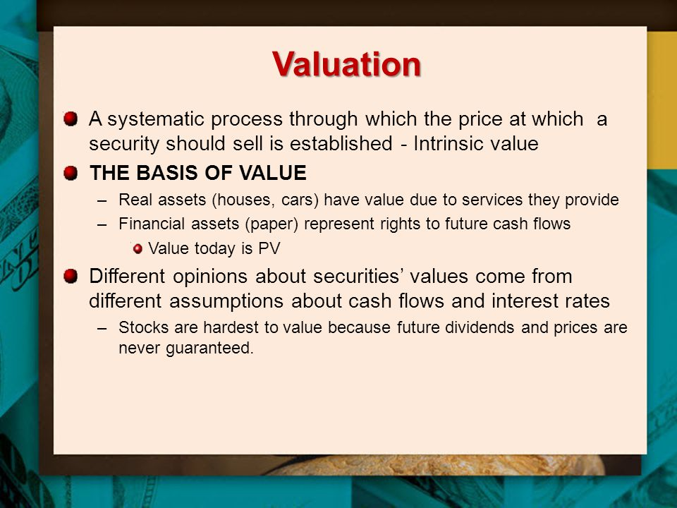 Valuation A systematic process through which the price at which a security should sell is established - Intrinsic value.