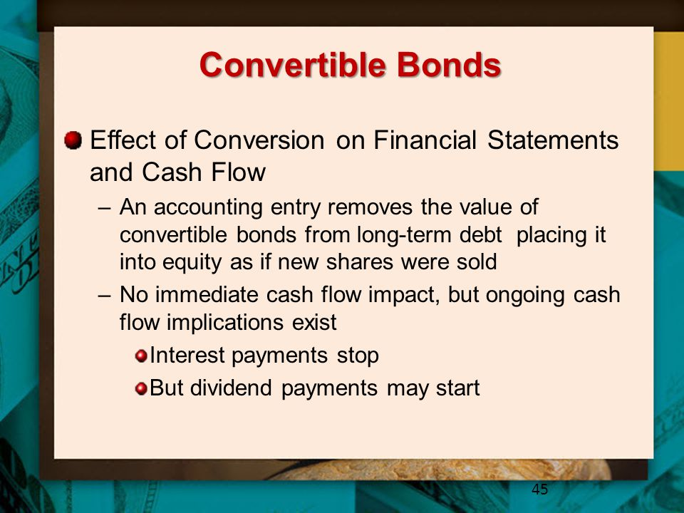 Convertible Bonds Effect of Conversion on Financial Statements and Cash Flow.