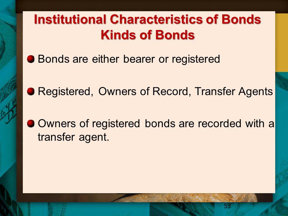 Institutional Characteristics of Bonds Kinds of Bonds