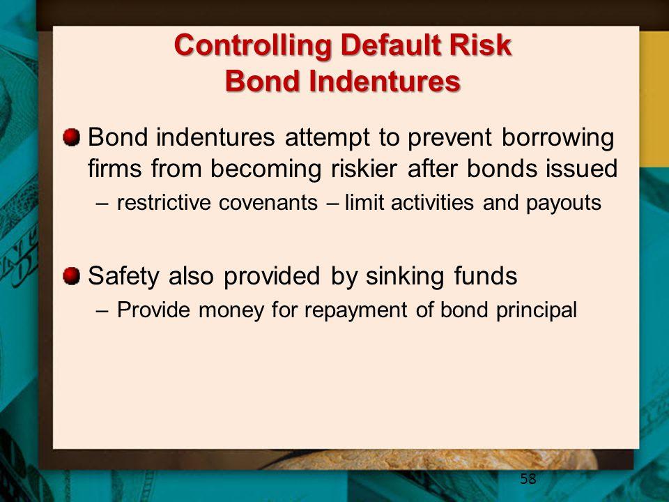Controlling Default Risk Bond Indentures