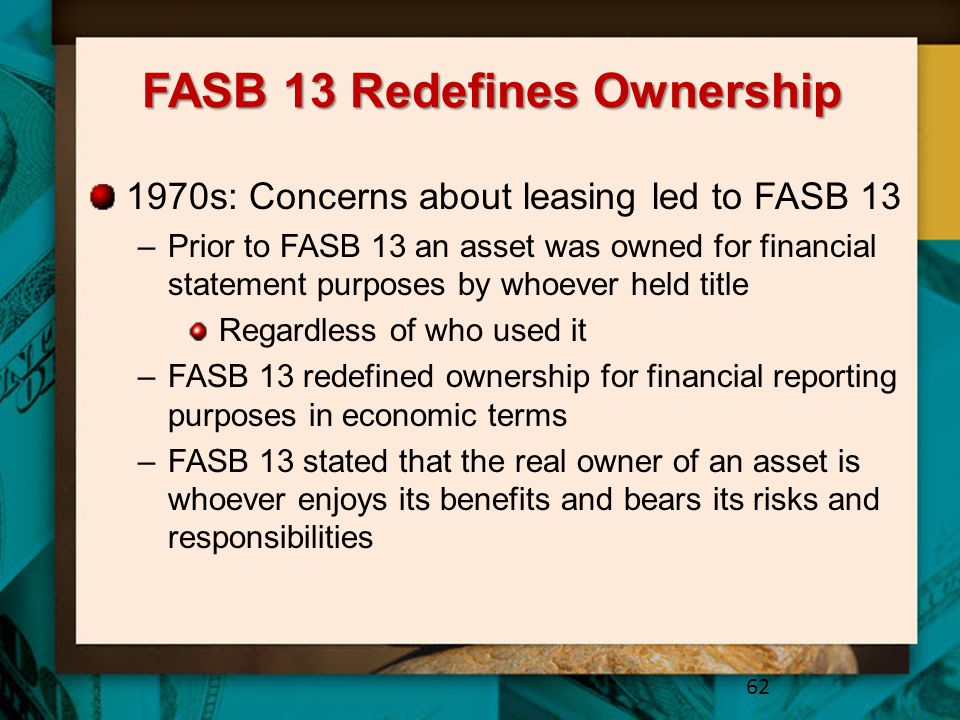 FASB 13 Redefines Ownership
