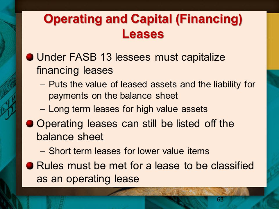 Operating and Capital (Financing) Leases
