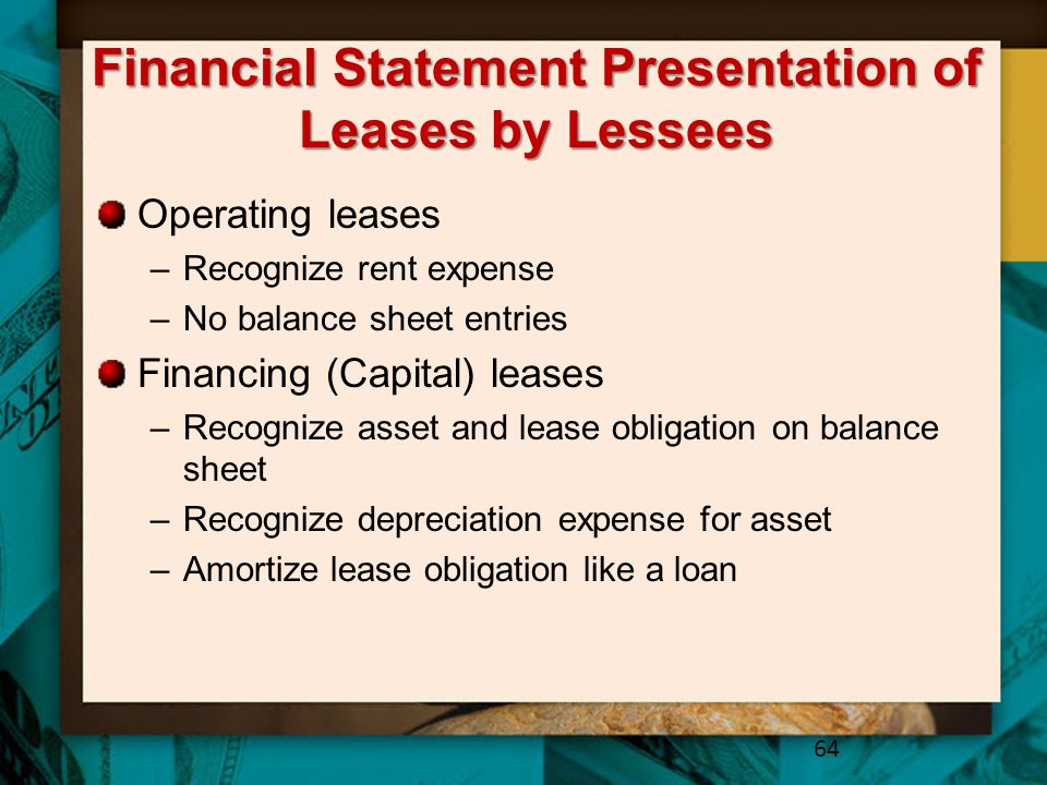 Financial Statement Presentation of Leases by Lessees