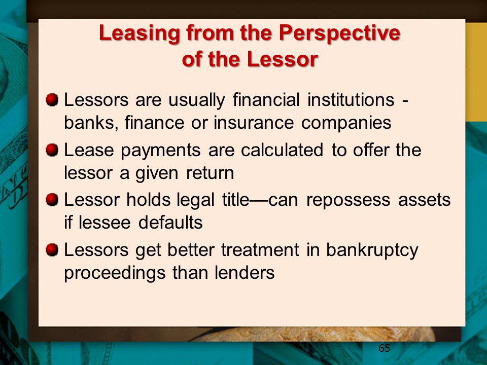 Leasing from the Perspective of the Lessor