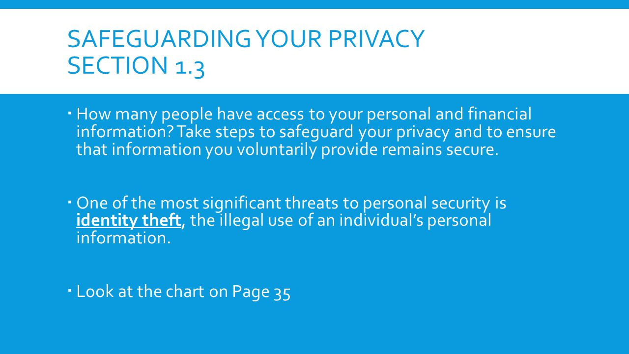 Safeguarding your privacy section 1.3