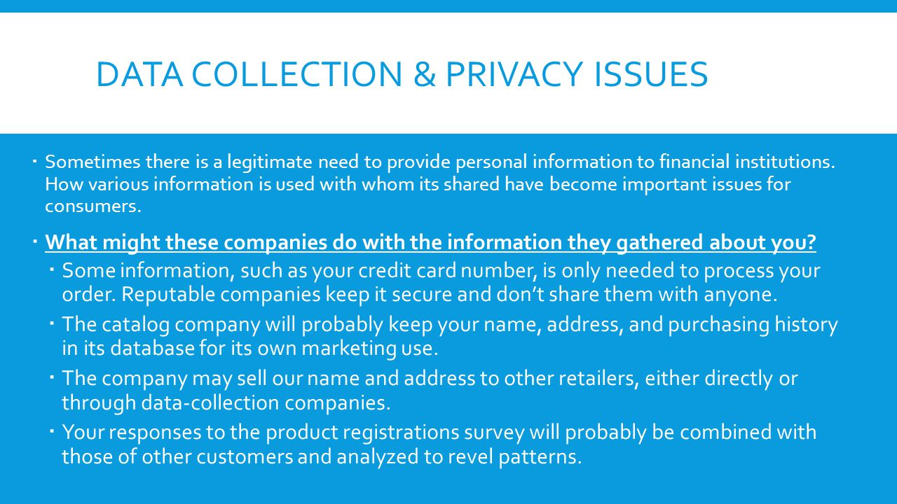 Data collection & privacy issues