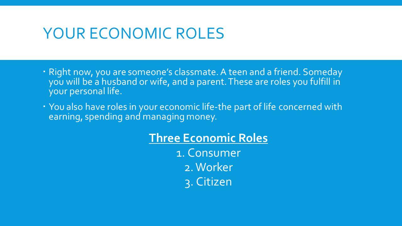 Your economic roles Three Economic Roles Consumer Worker Citizen