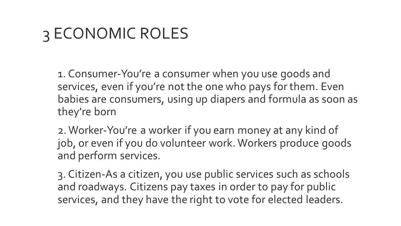 3 economic roles