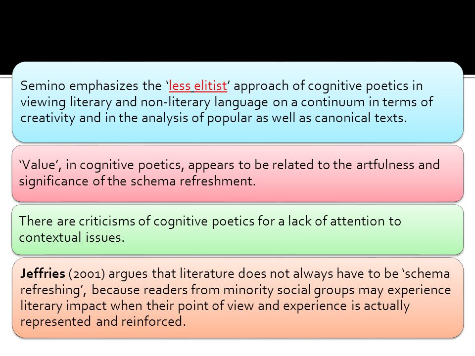 Semino emphasizes the 'less elitist' approach of cognitive poetics in viewing literary and non-literary language on a continuum in terms of creativity and in the analysis of popular as well as canonical texts.