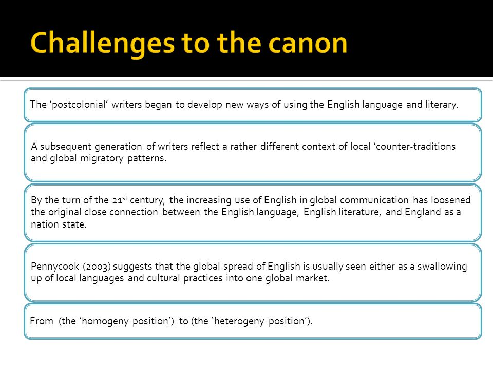 Challenges to the canon