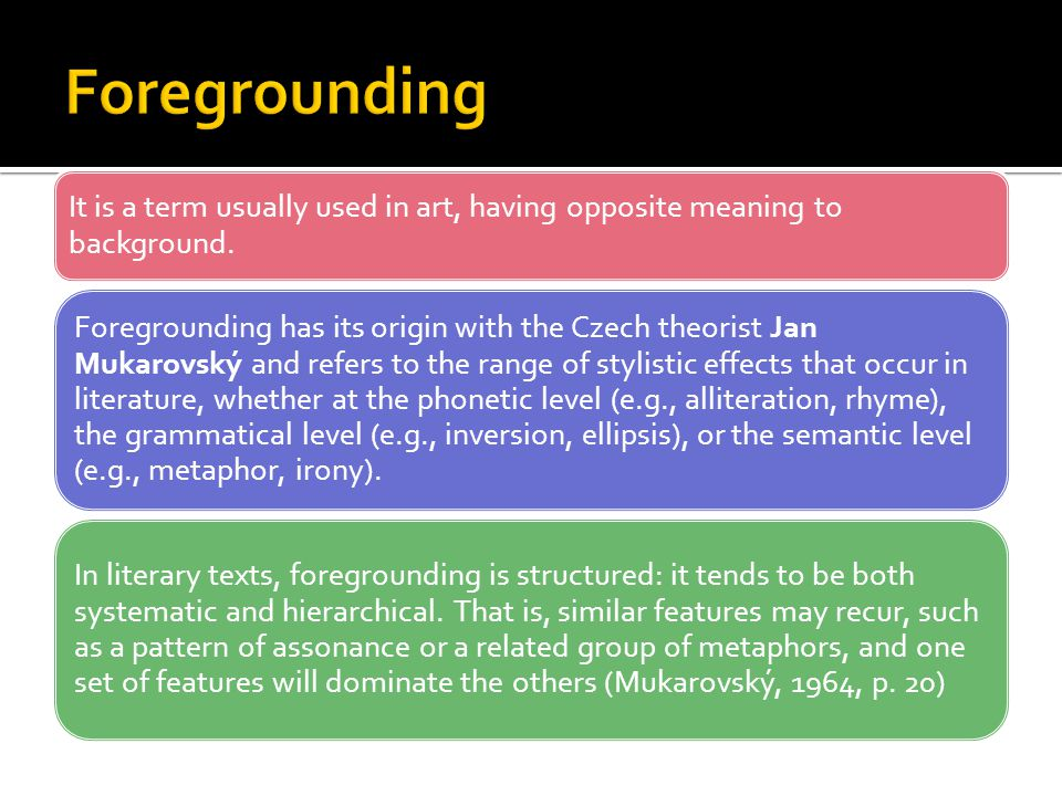 Foregrounding It is a term usually used in art, having opposite meaning to background.