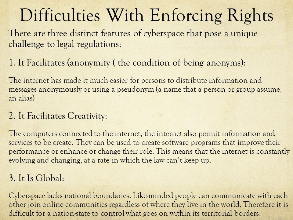 Difficulties With Enforcing Rights