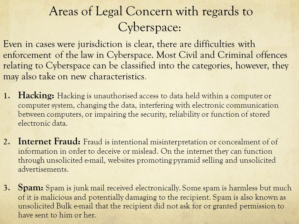 Areas of Legal Concern with regards to Cyberspace: