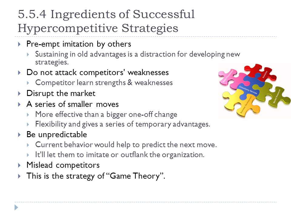 5.5.4 Ingredients of Successful Hypercompetitive Strategies