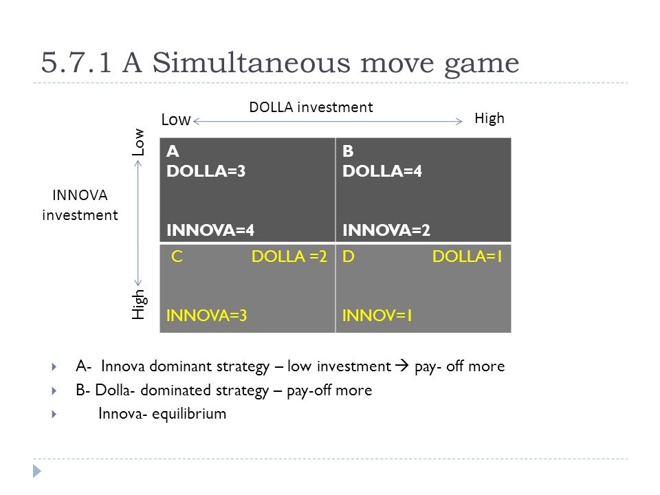 5.7.1 A Simultaneous move game