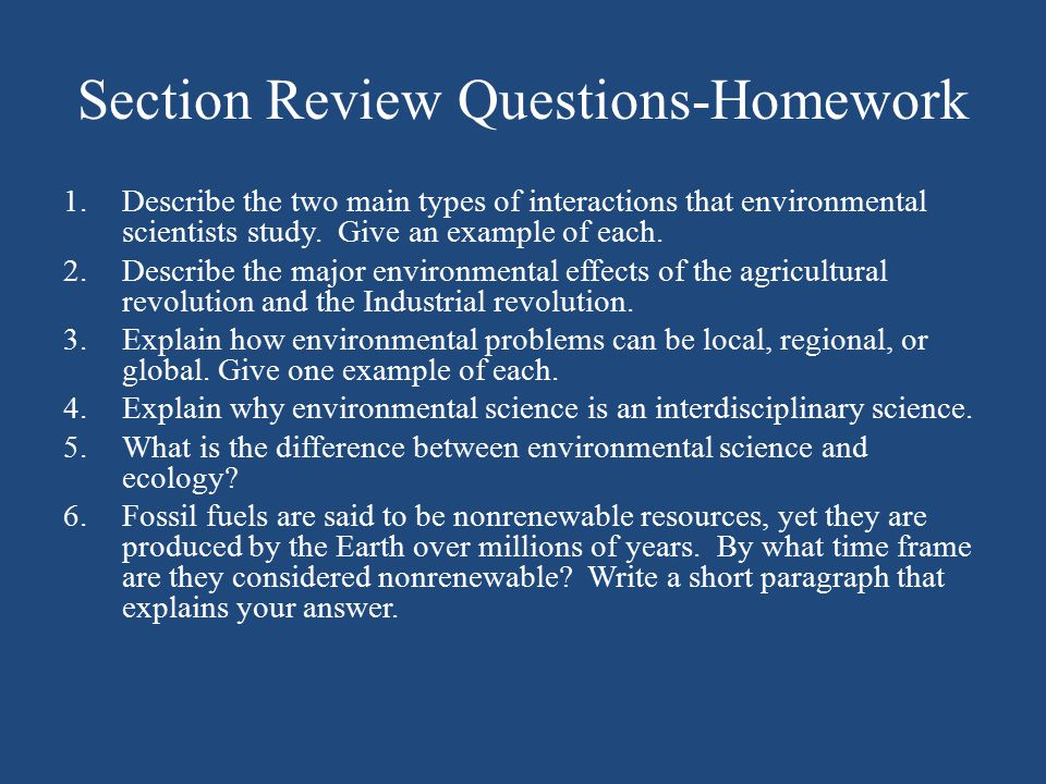 Section Review Questions-Homework