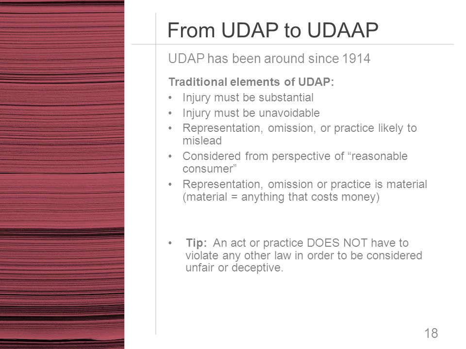 From UDAP to UDAAP UDAP has been around since 1914
