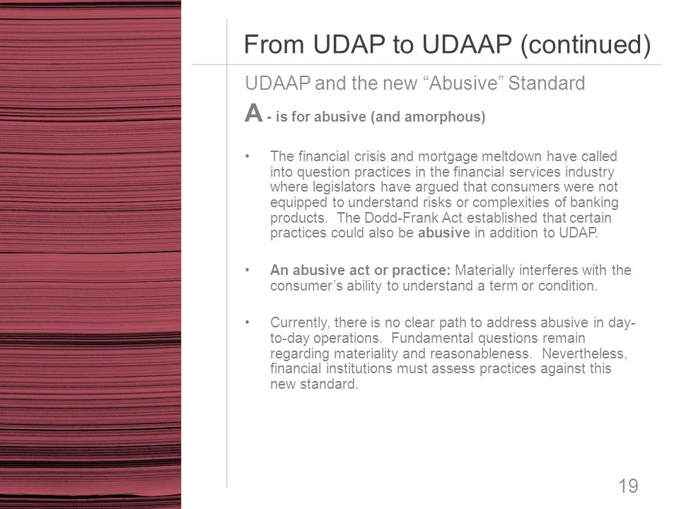 From UDAP to UDAAP (continued)
