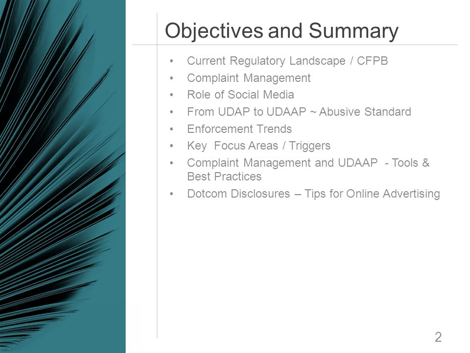 Objectives and Summary