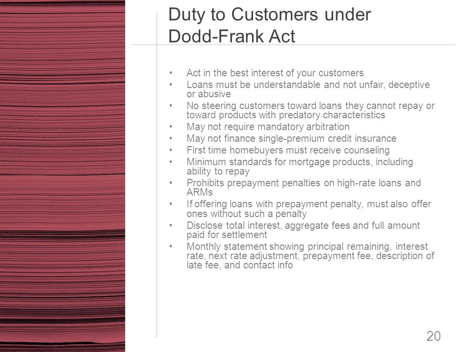 Duty to Customers under Dodd-Frank Act